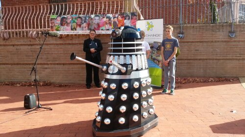 Campaign launch message aided by a Dalek